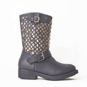 Taylor Black Flat Boots with Studded Detail