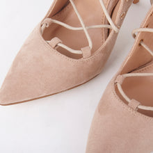 Load image into Gallery viewer, Tessa Lace Up Suede Pointed Court Heels In Nude In stock