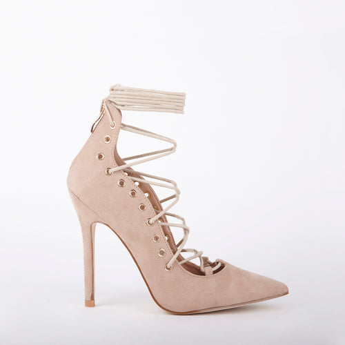 Tessa Lace Up Suede Pointed Court Heels In Nude In stock