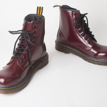 Load image into Gallery viewer, Tori Burgundy Patent Biker Boots