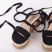 Load image into Gallery viewer, Tropez Black Lace Up Faux Leather Espadrille Flatforms
