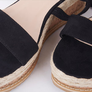Tropez Black Lace Up Faux Leather Espadrille Flatforms