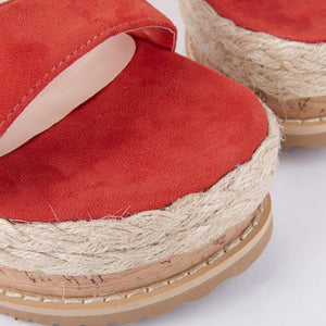 Tropez Burnt Orange Lace Up Faux Leather Espadrille Flatforms
