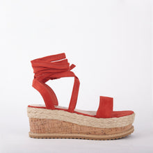 Load image into Gallery viewer, Tropez Burnt Orange Lace Up Faux Leather Espadrille Flatforms