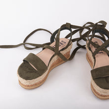 Load image into Gallery viewer, Tropez Khaki Lace Up Faux Leather Espadrille Flatforms