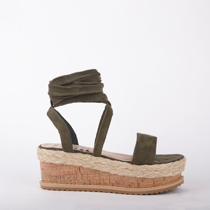 Tropez Khaki Lace Up Faux Leather Espadrille Flatforms