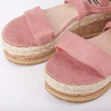 Load image into Gallery viewer, Tropez Pink Lace Up Faux Leather Espadrille Flatforms