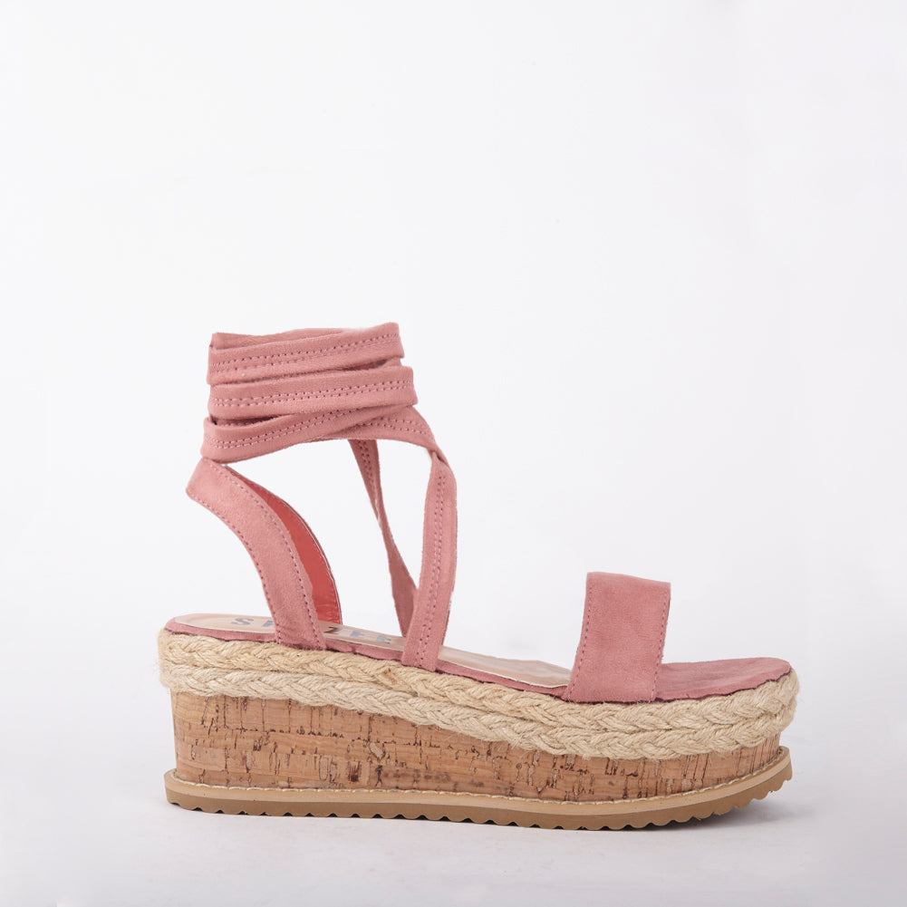 Tropez Pink Lace Up Faux Leather Espadrille Flatforms