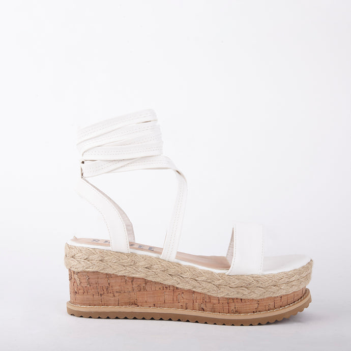 Tropez White Lace Up Faux Leather Espadrille Flatforms