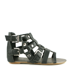 Buckle Detail Zip Up Flat Summer Flat Sandals