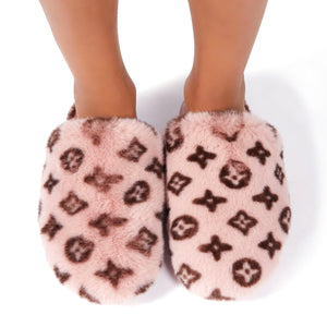 Fluffy Printed Detail Flat Slipper In Pink Faux Fur