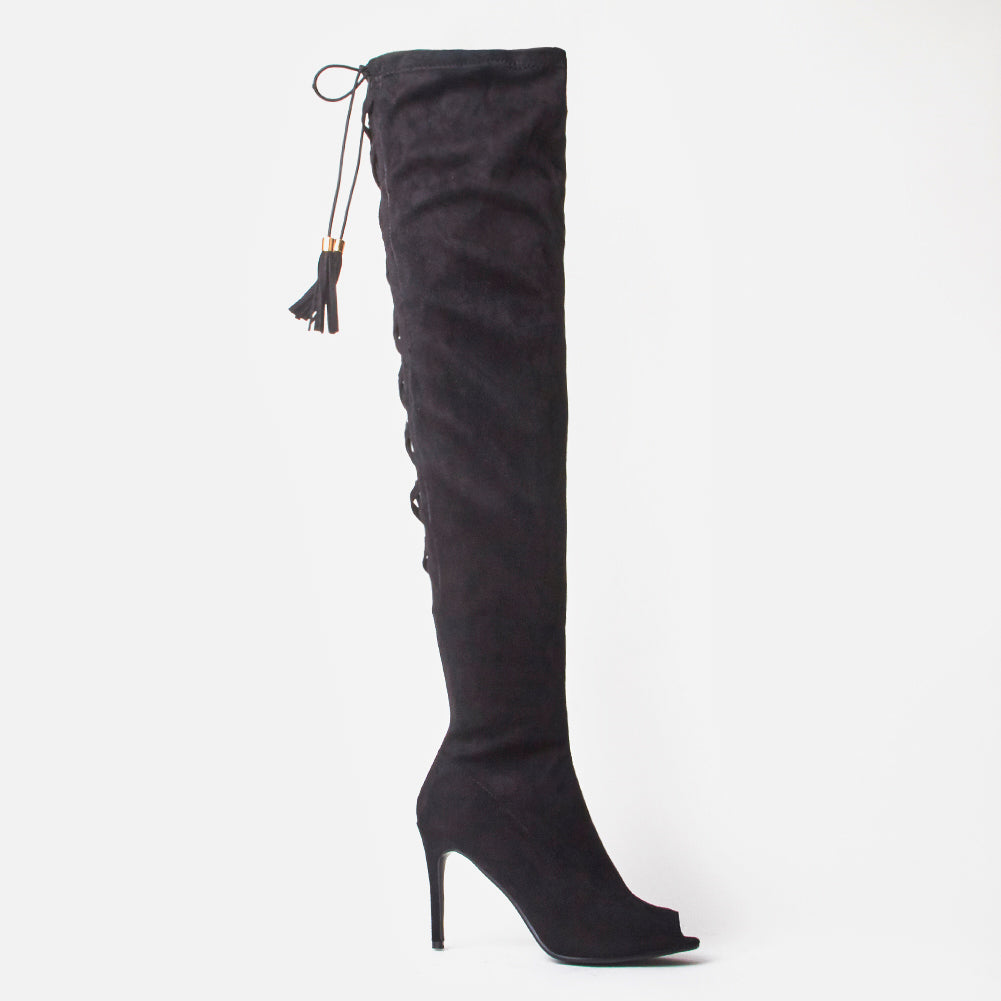 Clemont Black Faux Suede Corset Tie Up Thigh High Boots