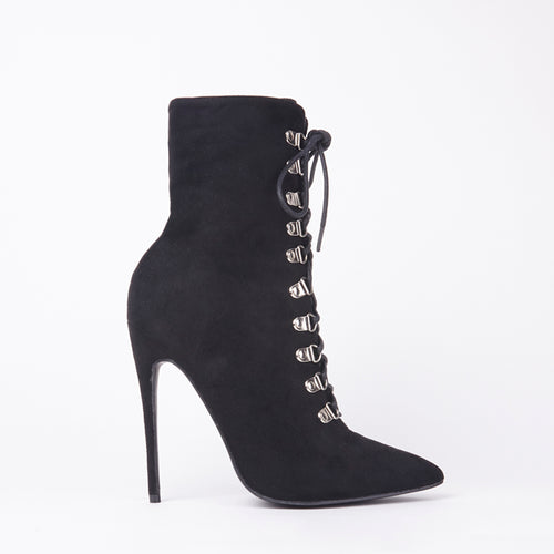 Vicky Black Pointed Lace Up Stiletto Heeled Boots