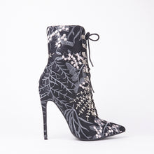 Load image into Gallery viewer, Vicky Black Embroidered Pointed Lace Up Stiletto Heeled Boots