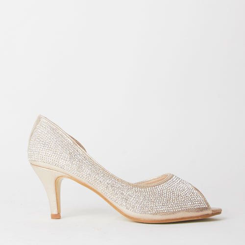 Wendy Gold Crystal Kitten Heels