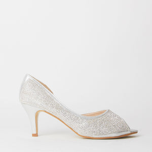 Wendy Silver Crystal Kitten Heels
