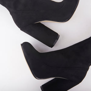 Willow Black Suede Round Heel Ankle Boots