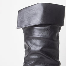 Load image into Gallery viewer, Black Faux Leather Flat Slouch Knee Boots
