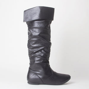 Black Faux Leather Flat Slouch Knee Boots