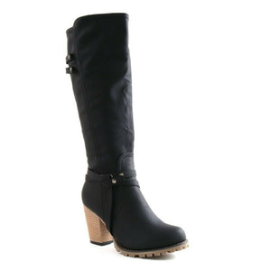 Wendy Black Western Style Knee High Boots