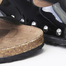 Load image into Gallery viewer, Cassie Black  Flat Studded Metallic Sliders