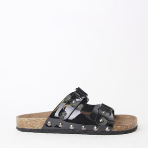 Cassie Black  Flat Studded Metallic Sliders