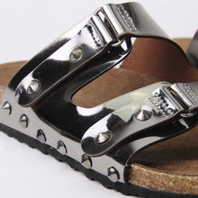 Load image into Gallery viewer, Cassie Silver Flat Studded Metallic Sliders