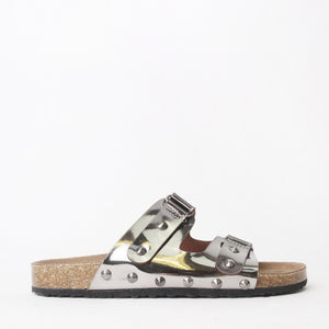 Cassie Silver Flat Studded Metallic Sliders