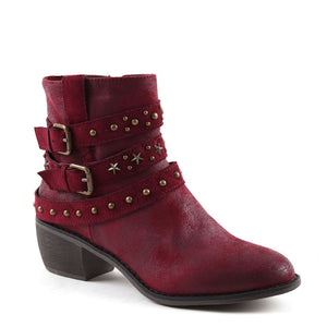 Vegan Leather Burgundy Cowboy Ankle Zip Up Boot
