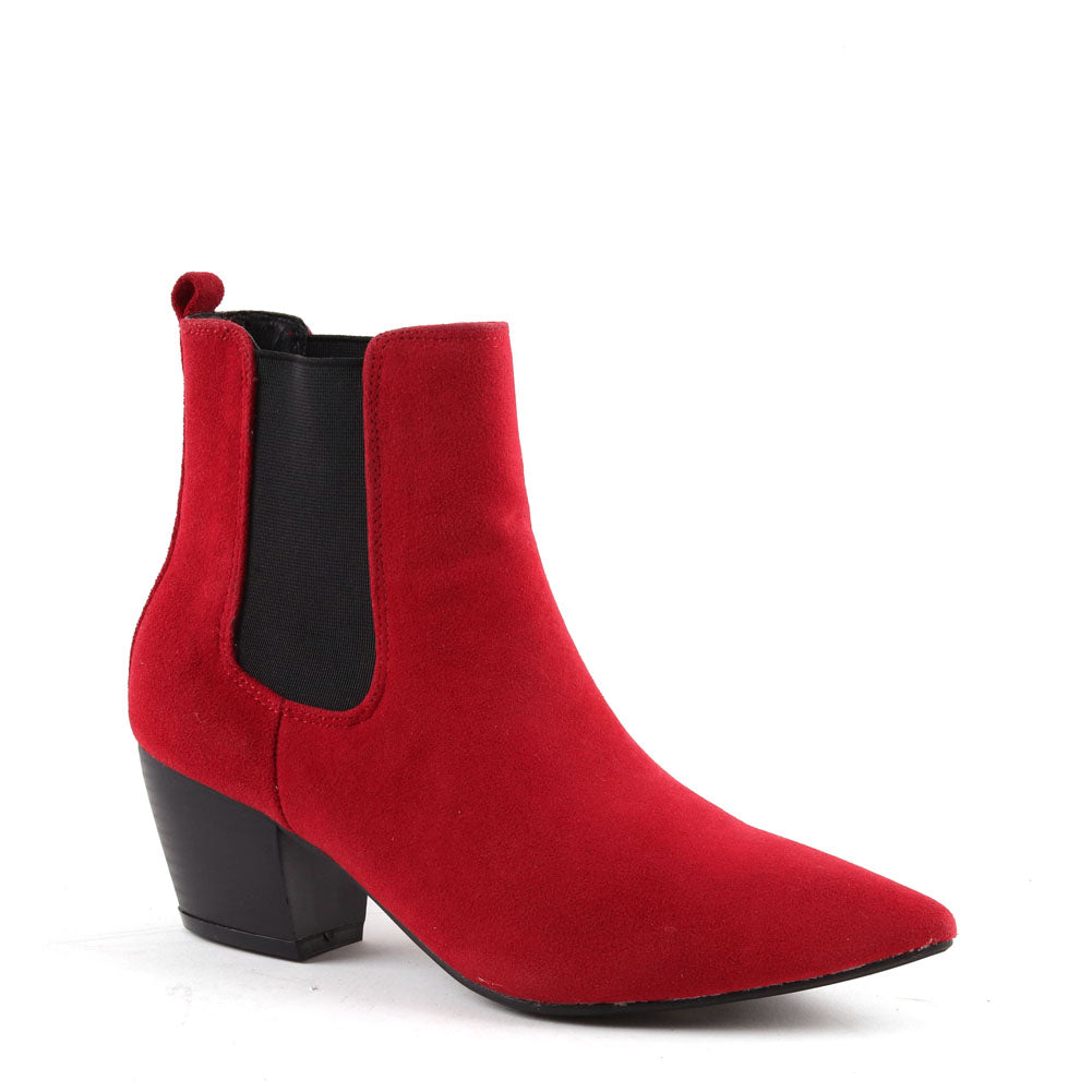 Red Faux Suede Cuban Heel Chelsea Ankle  Boot
