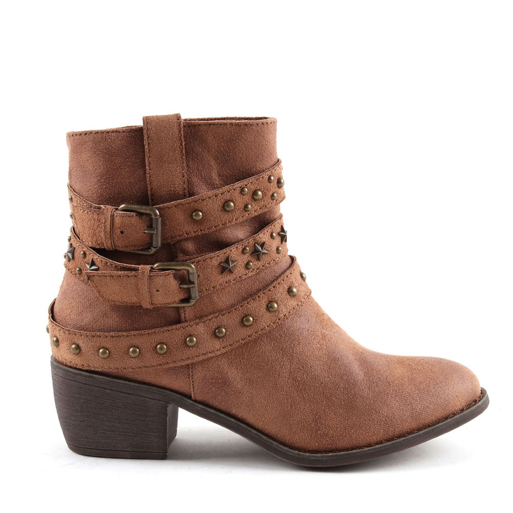Vegan Leather Tan Cowboy Ankle Zip Up Boot