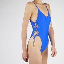 Load image into Gallery viewer, Coral Blue Lace Up Swimsuit