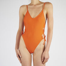 Load image into Gallery viewer, Coral Orange Lace Up Swimsuit