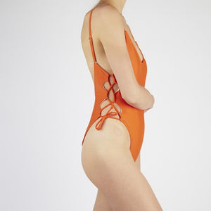 Coral Orange Lace Up Swimsuit