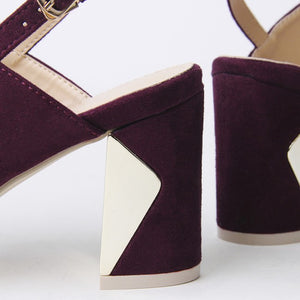 Ella Purple Block Heel Strappy Sandal With Ring Detail