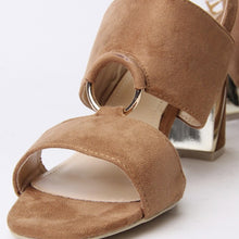 Load image into Gallery viewer, Ella Tan Block Heel Strappy Sandal With Ring Detail