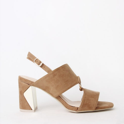 Ella Tan Block Heel Strappy Sandal With Ring Detail