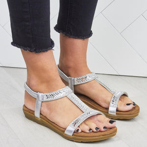 Summer Low Wedge Sling Back Sandals In Silver