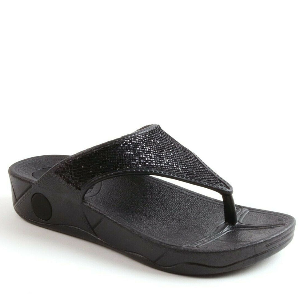 Posture Comfort Low Wedge Fit Flop Style Summer Sandals In Black
