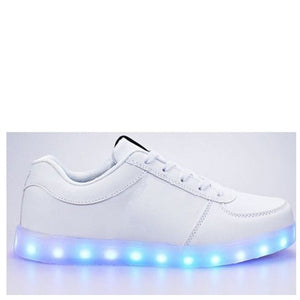 Kids LED Light Up White Lace Up Trainers