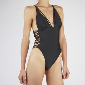 Keilani Black Side Lace Swimsuit