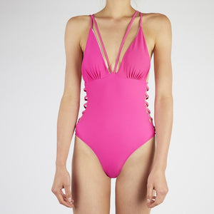 Keilani Pink Side Lace Swimsuit