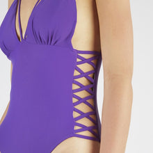 Load image into Gallery viewer, Keilani Purple Side Lace Swimsuit