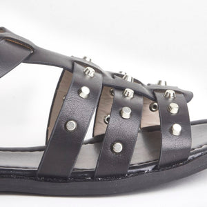 Lana Black Studded Caged Sandals