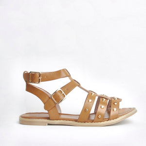 Lana Tan Studded Caged Sandals
