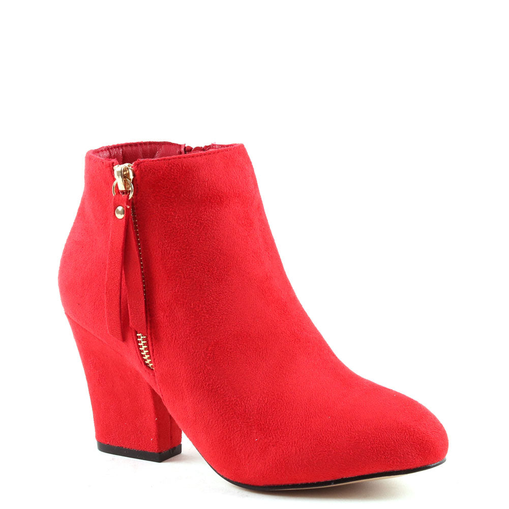 Red Faux Suede Block Heel Ankle Boot