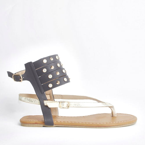 Orna Black Cuff Detailed Sandals