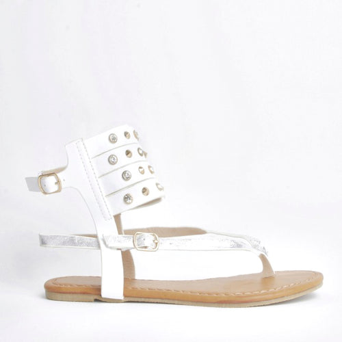 Orna White Cuff Detailed Sandals