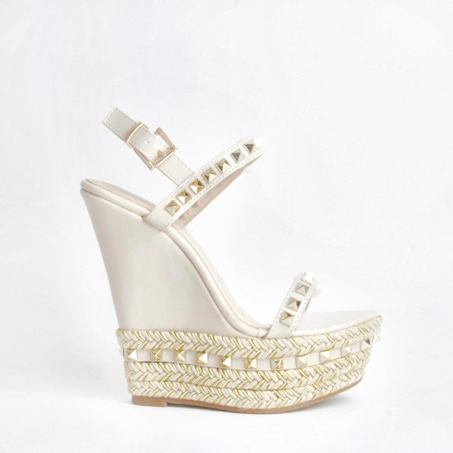 Raye Cream Wedge Heel With Stud Detail