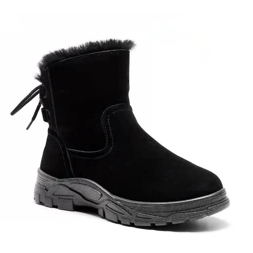 Fleece Lined Luxury Black Suede Ankle Winter Boots